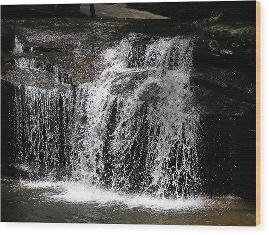 Table Rock South Carolina Water Fall Wood Print by Diane Frick