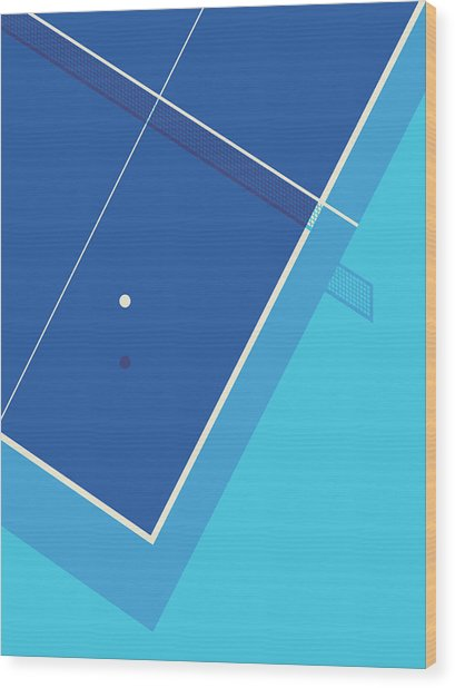Table Tennis Ping Pong Table - Cyan Wood Print