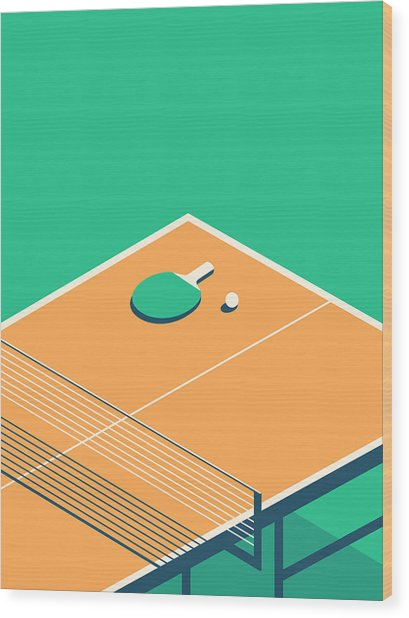 Table Tennis Table Isometric - Green Wood Print