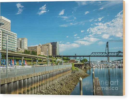 Tacoma And 11th Street Bridge Wood Print