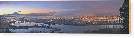 Tacoma Dawn Panorama Wood Print