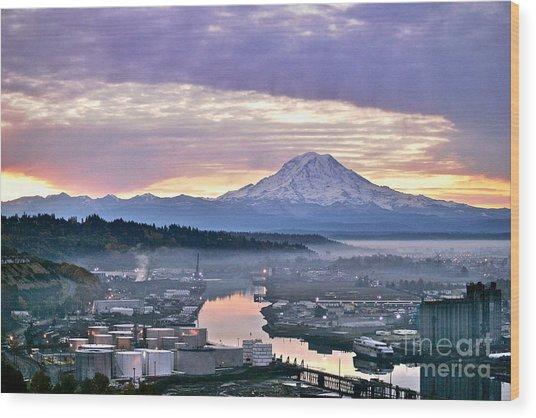Tacoma Dawn Wood Print