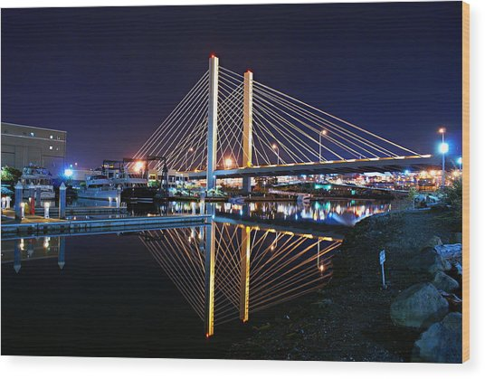 Tacoma Hwy 509 Bridge Up In Lights 2 Wood Print