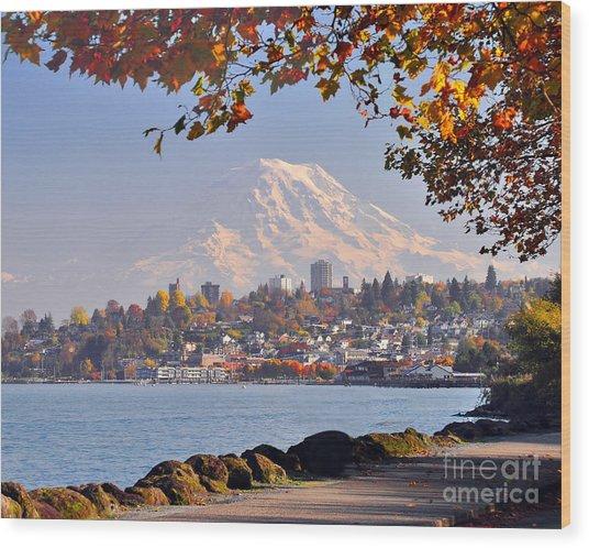 Tacoma N Mt Rainier Wood Print