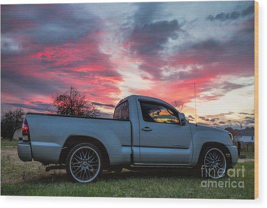 Toyota Tacoma Trd Truck Sunset Wood Print
