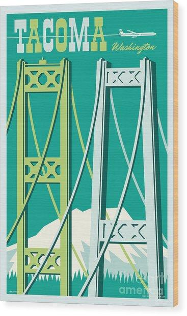 Tacoma Poster - Vintage Style Travel  Wood Print