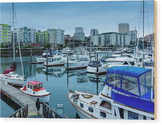 Tacoma Waterfront Marina,washington Wood Print