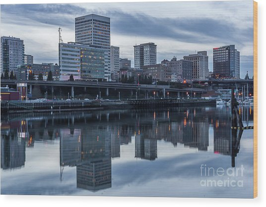 Tacoma Waterfront,washington Wood Print