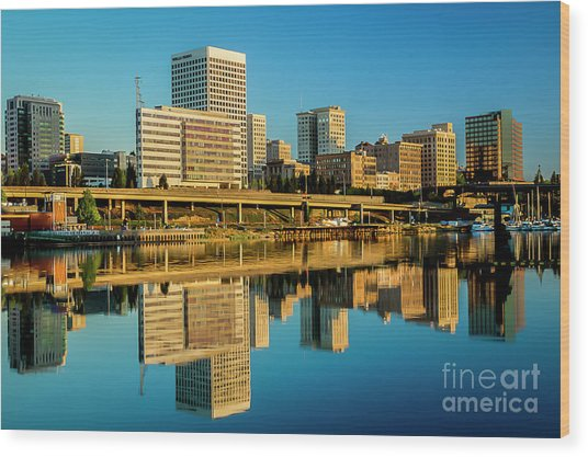 Tacoma's Waterfront,washington Wood Print