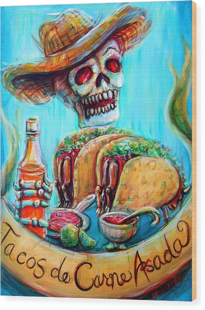 Tacos De Carne Asada Wood Print