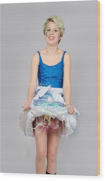 Taetyn In Jelly Fish Dress Wood Print