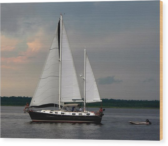 Tahiti Under Sail Wood Print