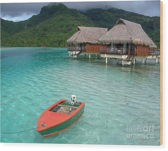 Tahitian Boat Wood Print
