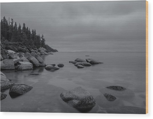 Tahoe In Black And White Wood Print