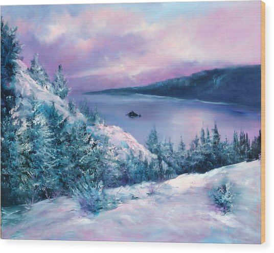 Tahoe Wood Print by Sally Seago