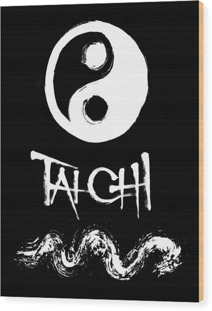 Tai Chi Black Wood Print