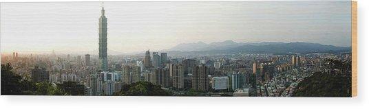 Taipei In Panorama Wood Print