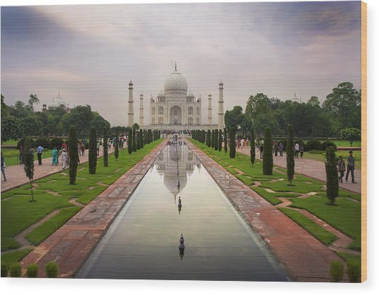 Taj Mahal At Sundown Wood Print