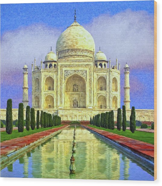Taj Mahal Morning Wood Print