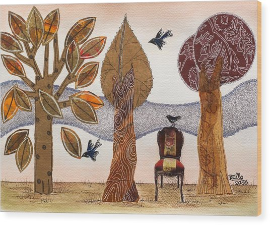 Take A Rest In Autumn Wood Print