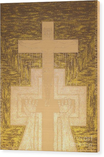 Take It To The Cross Silver Gold Wood Print by Daniel Henning