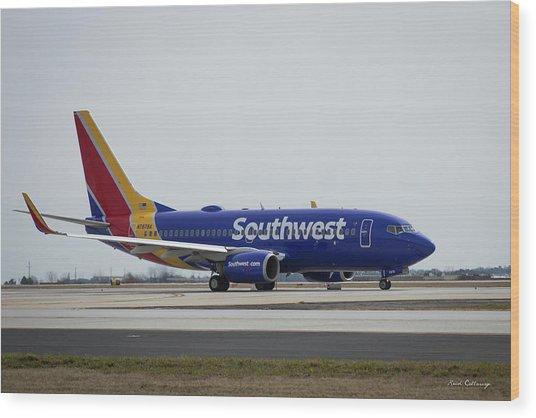 Take Off Southwest Airlines N7878a Hartsfield-jackson Atlanta International Airport Art Wood Print
