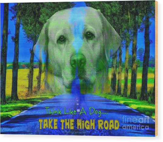 Wood Print featuring the digital art Take The High Road by Kathy Tarochione