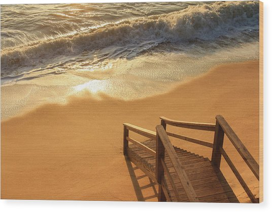 Take The Stairs To The Waves Wood Print