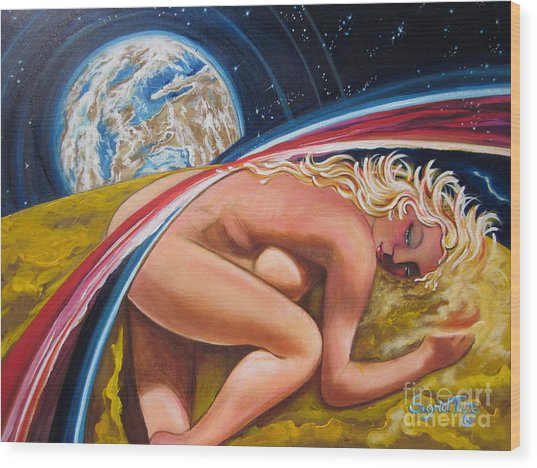 Moonresting Goddess Odins Wife   Wood Print