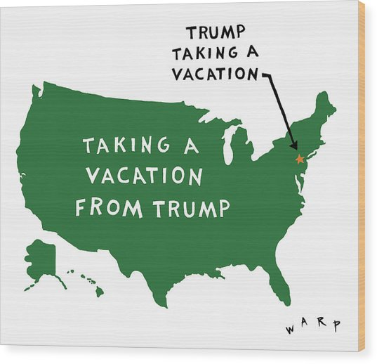 Taking A Vacation From Trump Wood Print