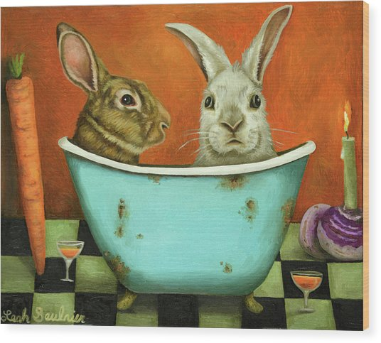 Tale Of Two Bunnies Wood Print