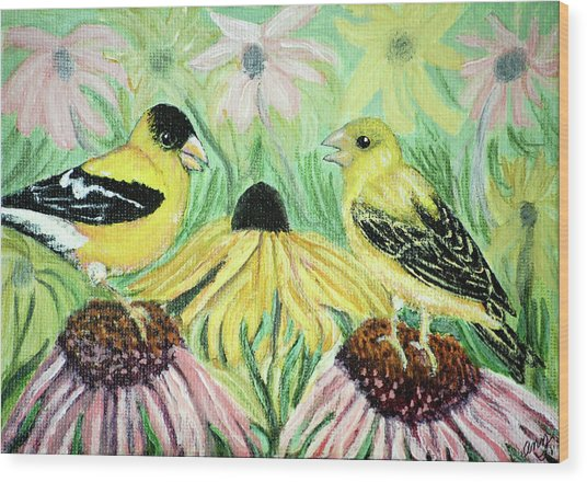 Talking Finches Wood Print by Ann Ingham
