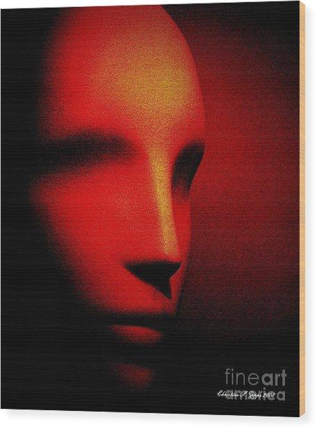 Talking Head Red Wood Print