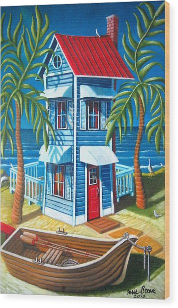 Tall Blue House Wood Print