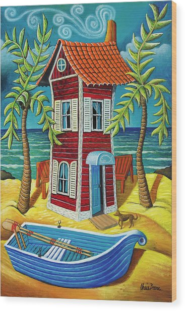 Tall Red House Wood Print