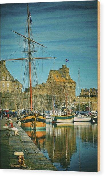Tall Ship In Saint Malo Wood Print