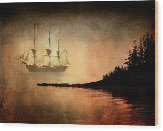 Tall Ship In The Fog Wood Print