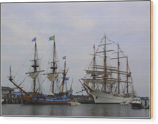 Historic Tall Ships Hermione And Sagres Wood Print