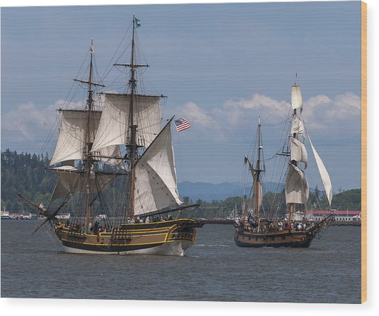 Tall Ships Square Off Wood Print