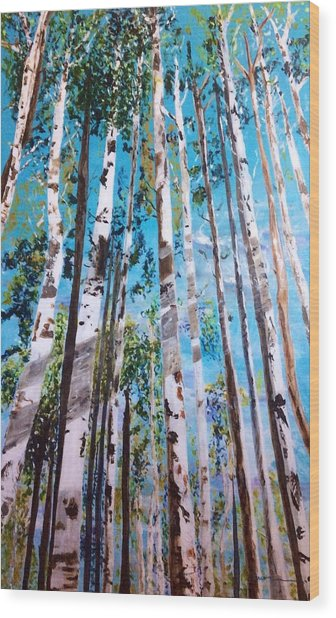 Wood Print featuring the painting Tall Whites by Patti Ferron