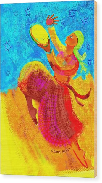 Tambourine Joy 3 Wood Print by Chana Helen Rosenberg