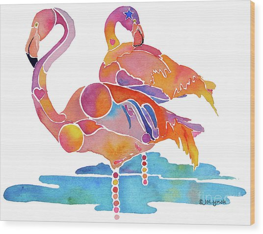 Tampa Nic Flamingos Wood Print