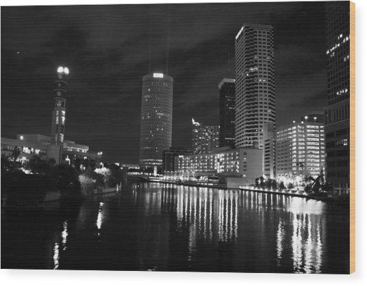 Tampa Skyline West Night Black And White Wood Print by Larry Underwood