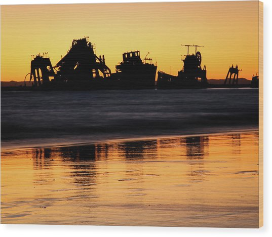 Tangalooma Wrecks Sunset Silhouette Wood Print