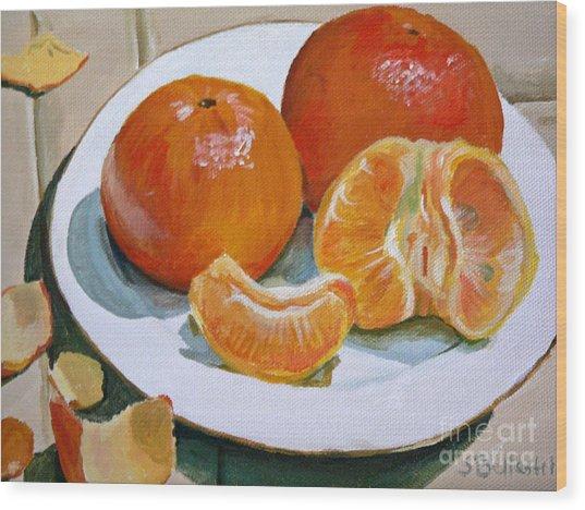 Tangerine Wood Print by Sandra Bellestri