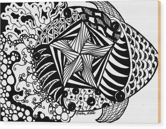 Tangle Fish Wood Print by Kristen Watts
