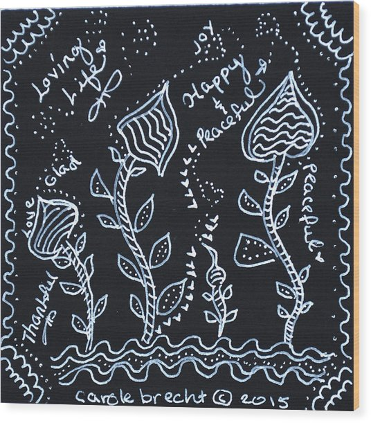 Tangle Flowers Wood Print