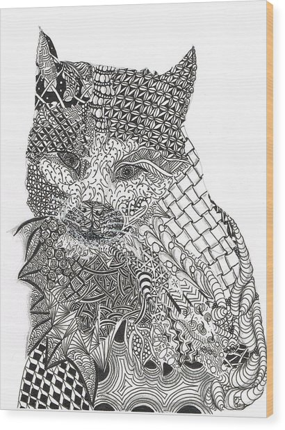 Tangled Cat Wood Print