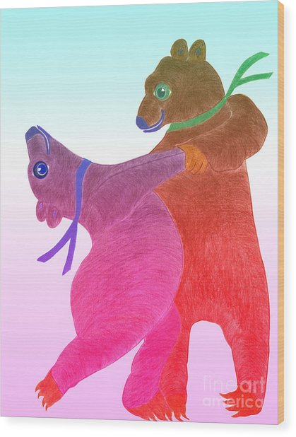 Tango Bears Wood Print by Tess M J Iroldi