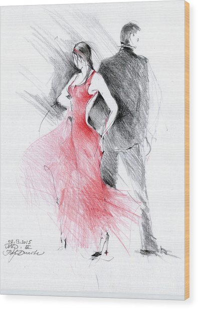 Tango Wood Print by Natalia Eremeyeva Duarte